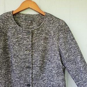 Ann Taylor Marled Knit Collarless Blazer Black 10